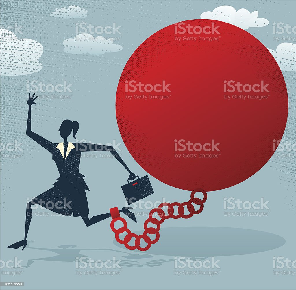 Abstract Businesswoman locked in a Ball and Chain. royalty-free stock vector art