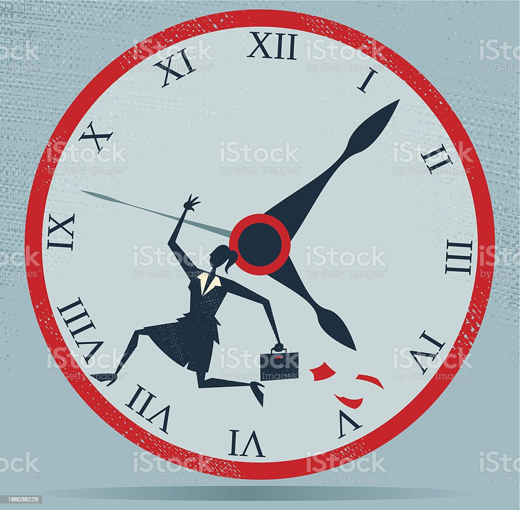 Abstract Businesswoman Running against the Clock. royalty-free stock vector art