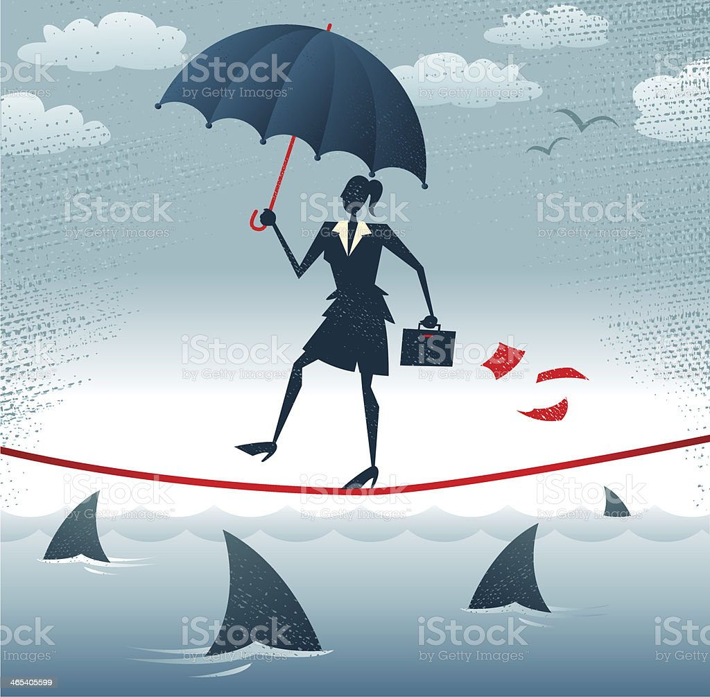 Abstract Businesswoman walks Tightrope with Confidence. royalty-free stock vector art