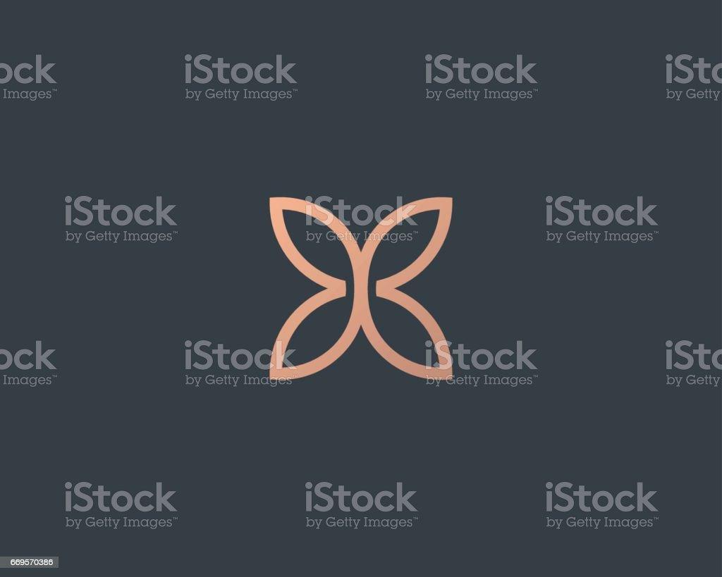 Abstract butterfly flower simple vector logotype. Line minimal universal luxury icon logo. vector art illustration