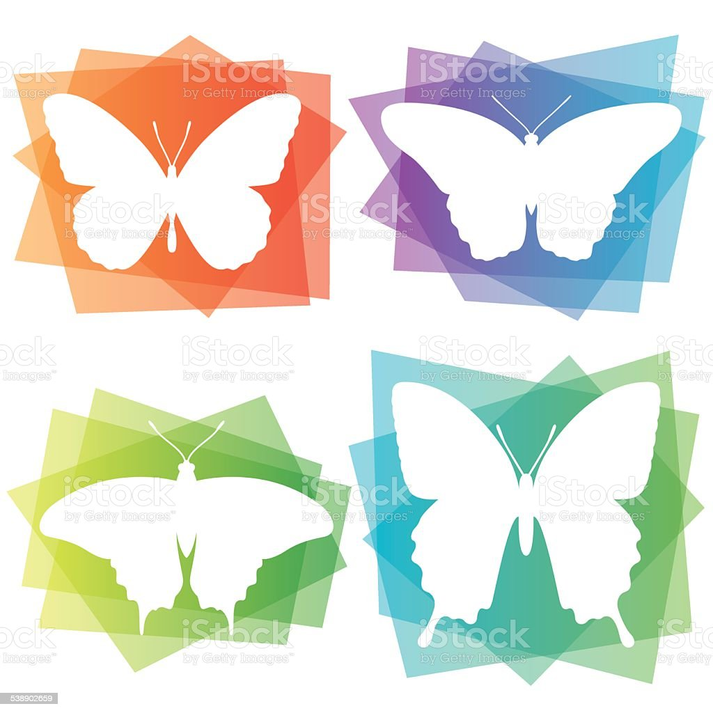Abstract Butterfly Icons vector art illustration