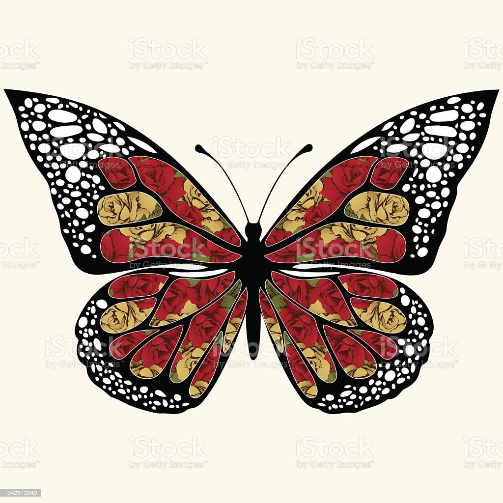 Abstract butterfly with ornaments of roses flowers. Floral patterned openwork royalty-free stock vector art