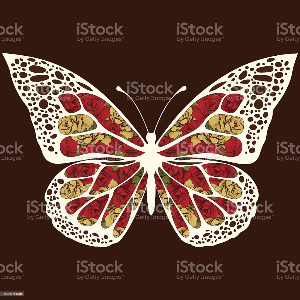 Abstract butterfly with ornaments of roses flowers royalty-free stock vector art