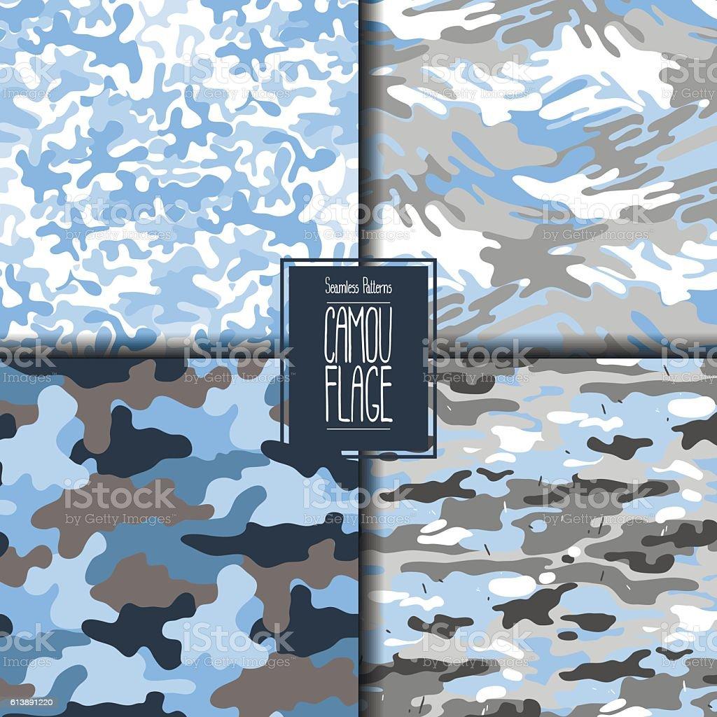Abstract camouflage pattern set vector art illustration
