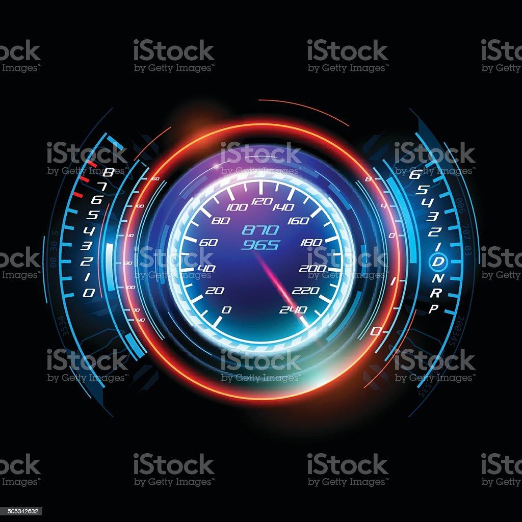 Abstract car speedometer vector art illustration