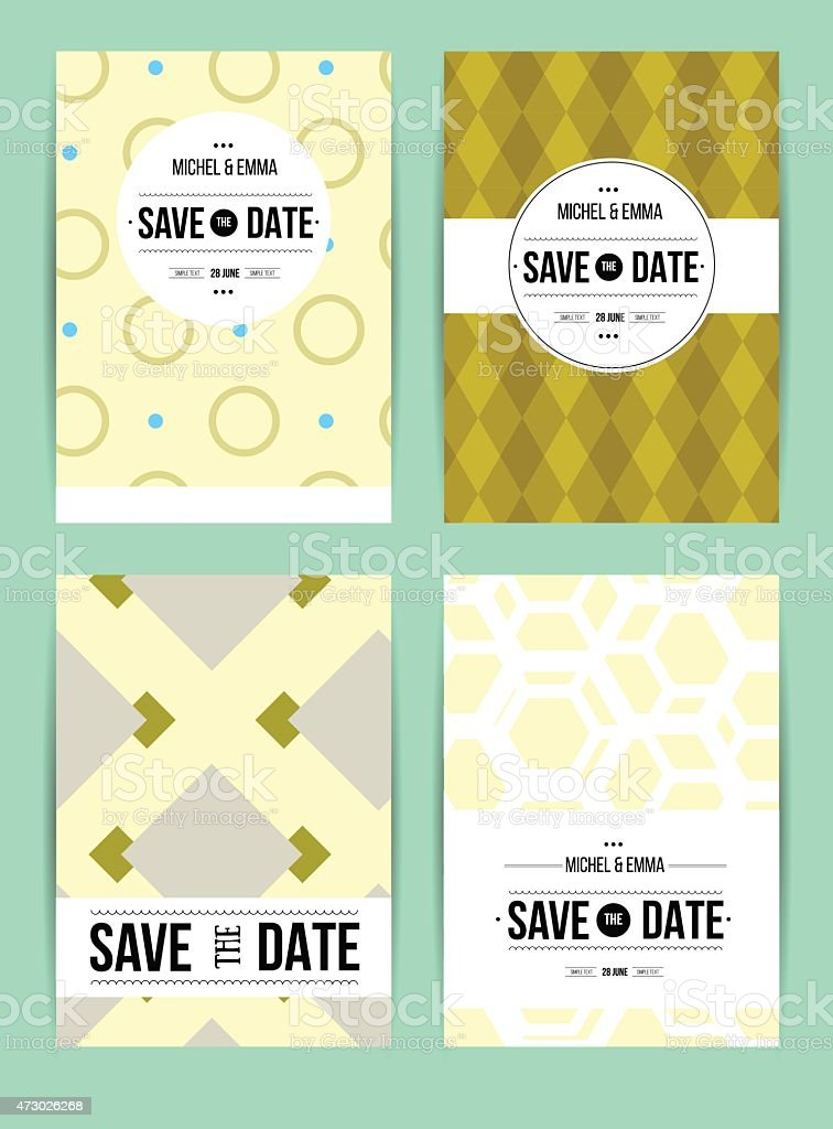 abstract cards with date vector art illustration