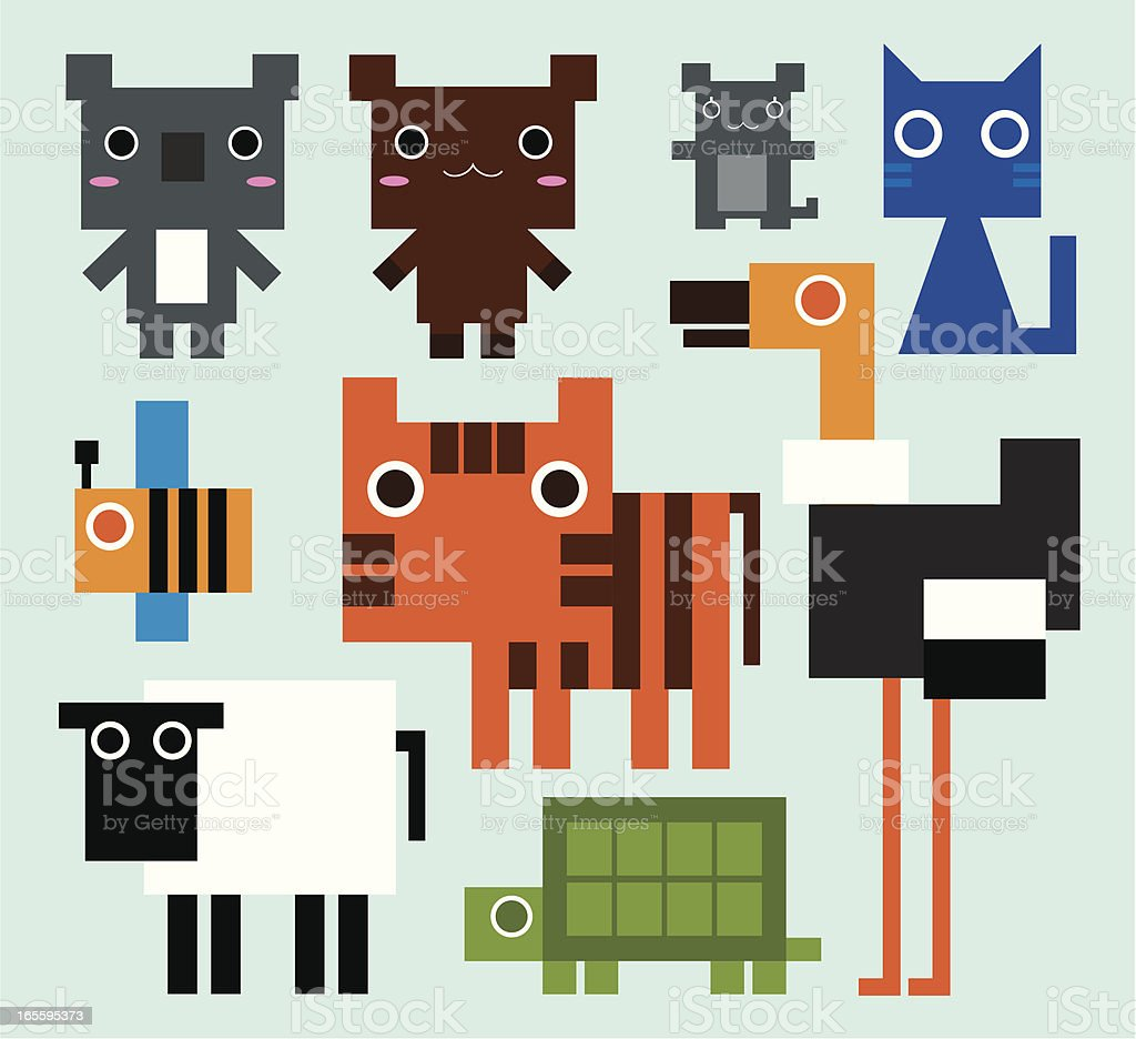 Abstract cartoon collection of various animals  vector art illustration