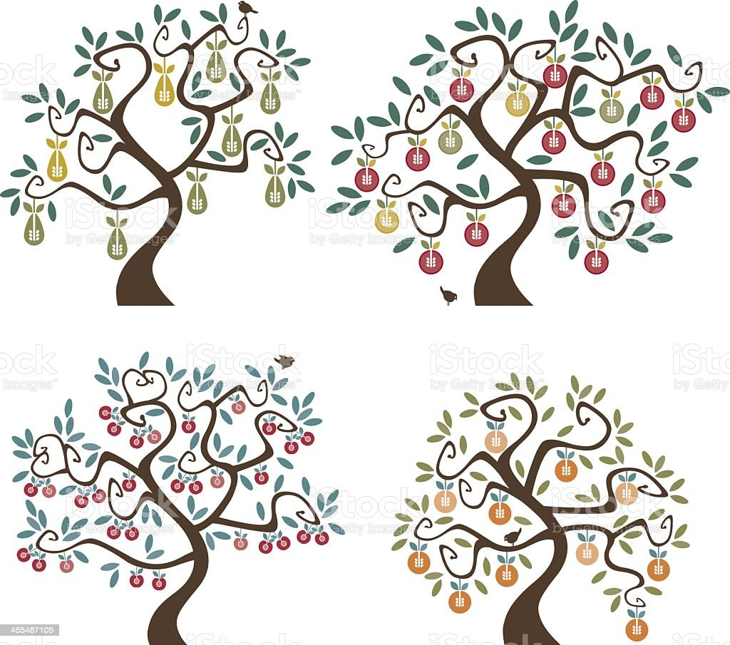 Abstract cartoon of 4 different fruit trees vector art illustration