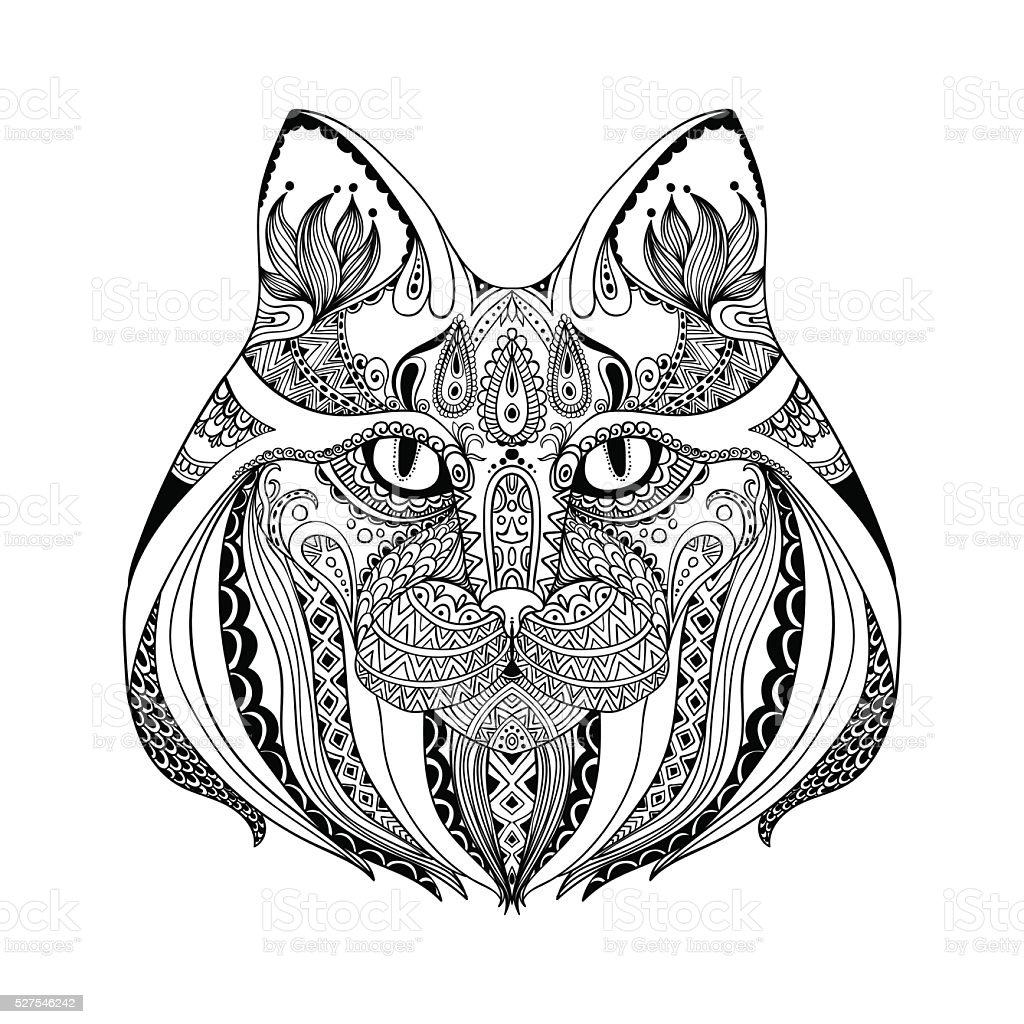 Abstract cat.Ornate isolated vector illustration vector art illustration