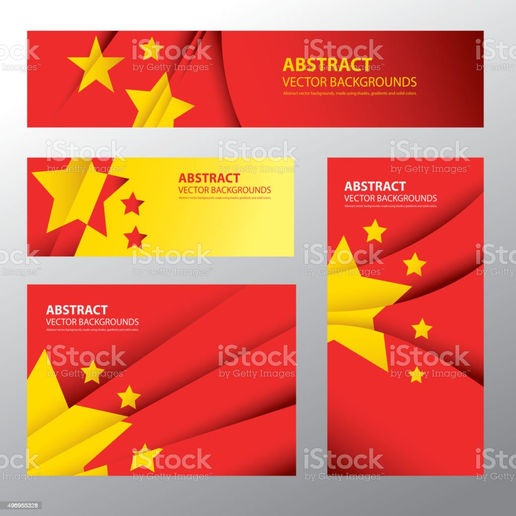Abstract China Flag, Chinese Colors (Vector Art) vector art illustration