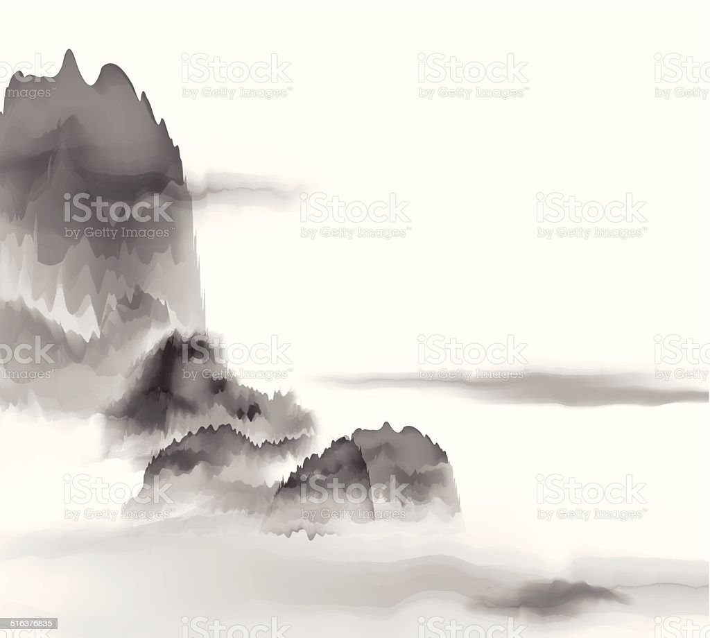 abstract Chinese painting mountain material background vector art illustration