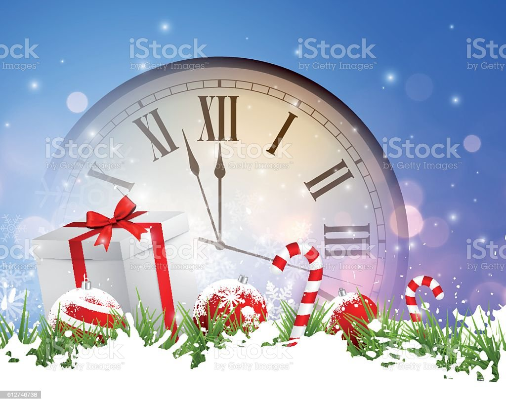 Abstract christmas background - clock vector art illustration