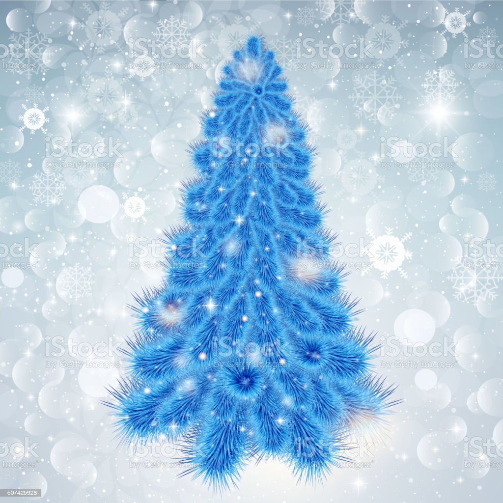 Abstract Christmas background with blue tree in snowflakes vector art illustration