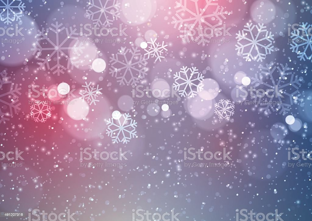 Abstract Christmas Background with Snowflakes vector art illustration