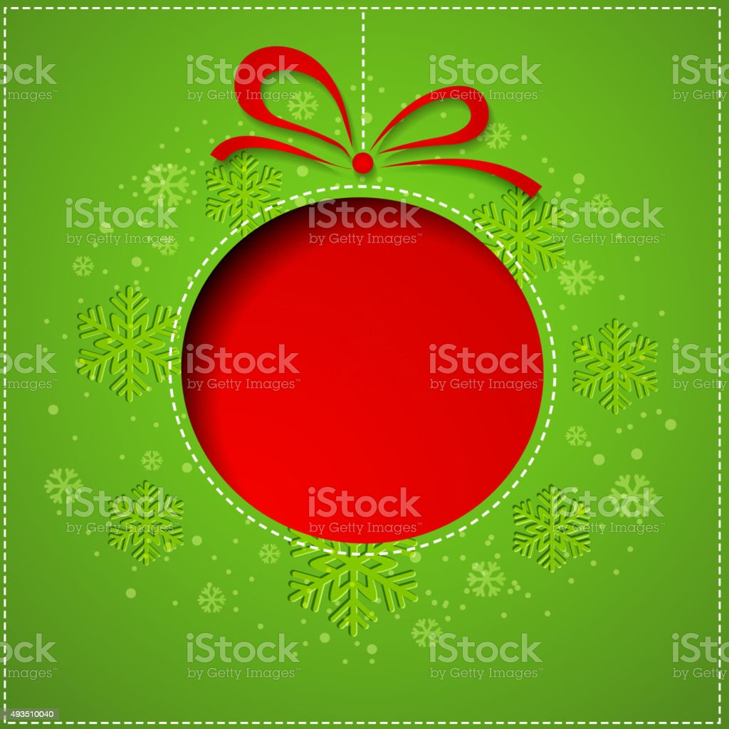Abstract Christmas balls cutted from paper on green background vector art illustration