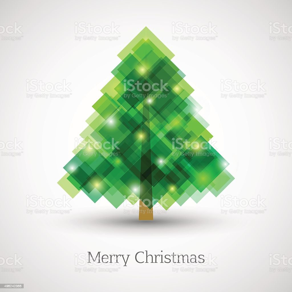Abstract christmas tree made of green squares vector art illustration