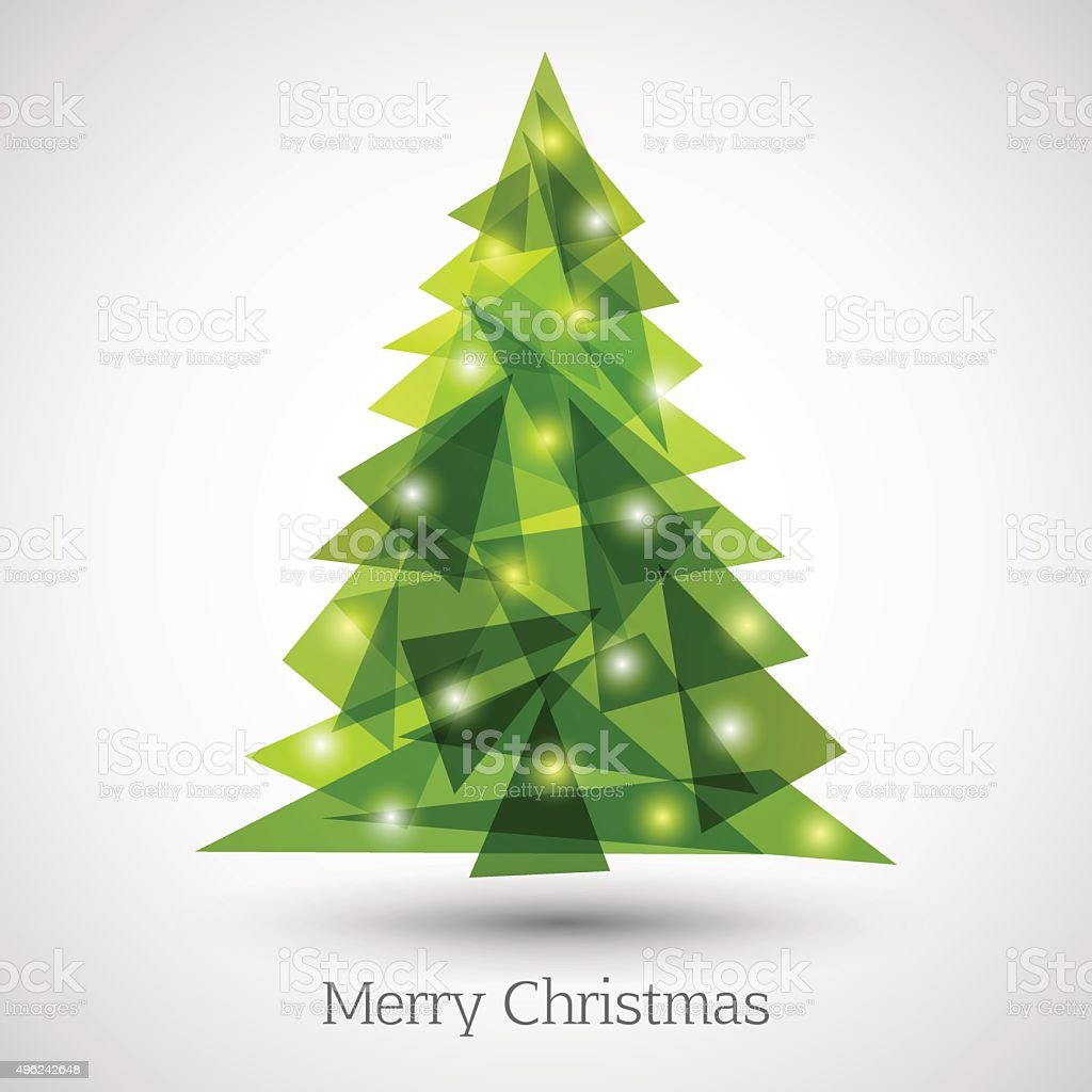 Abstract christmas tree made of green triangles vector art illustration