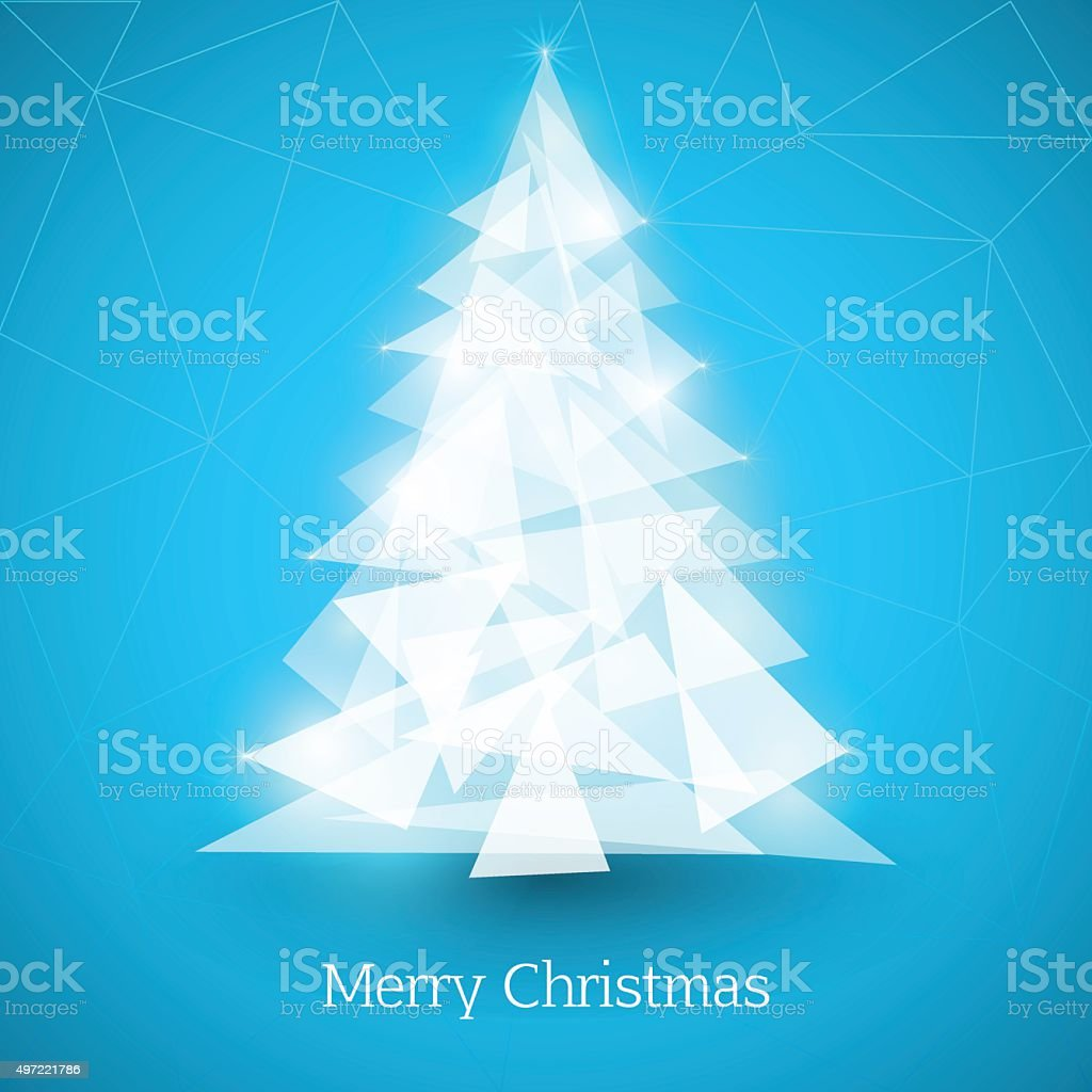 Abstract christmas tree made of white triangles on blue background vector art illustration