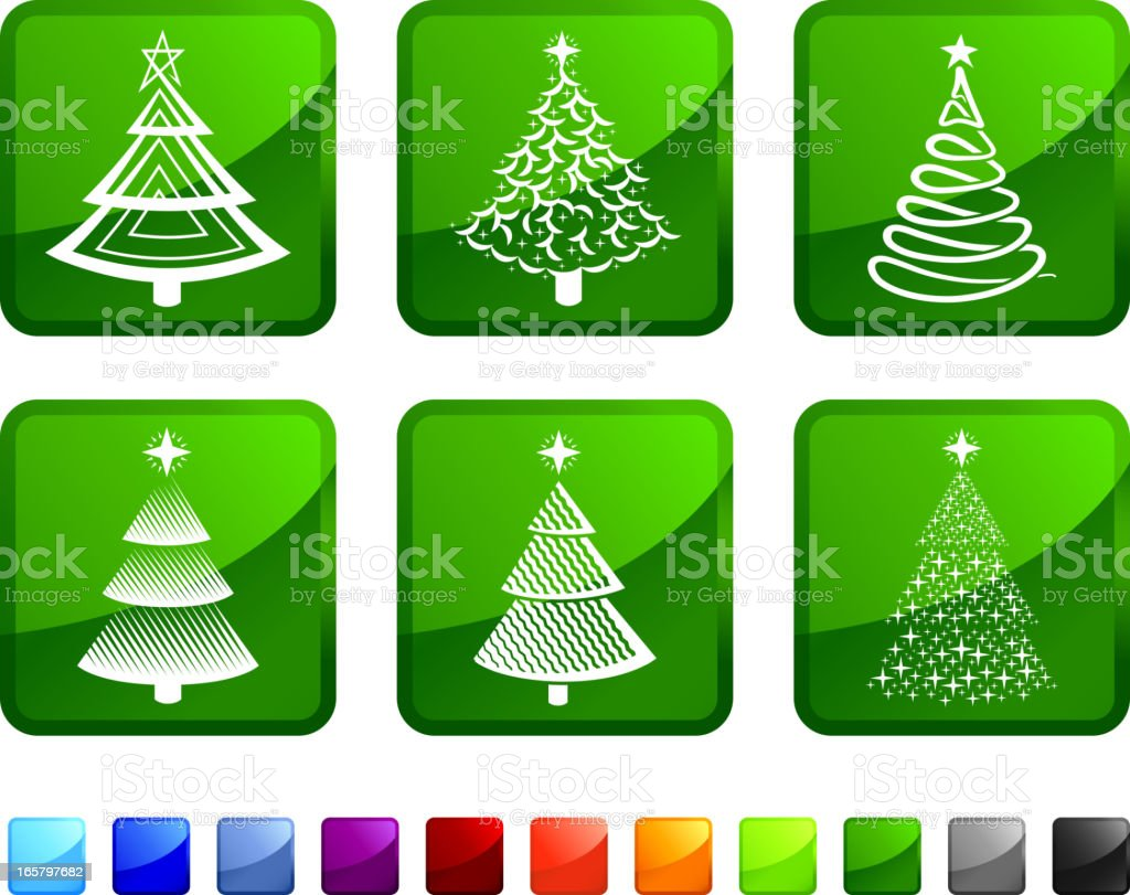 Abstract Christmas Tress royalty free vector icon set stickers. royalty-free stock vector art