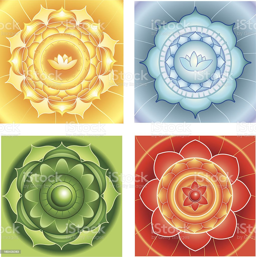 abstract circle backgrounds, mandalas of different chakras stock photo
