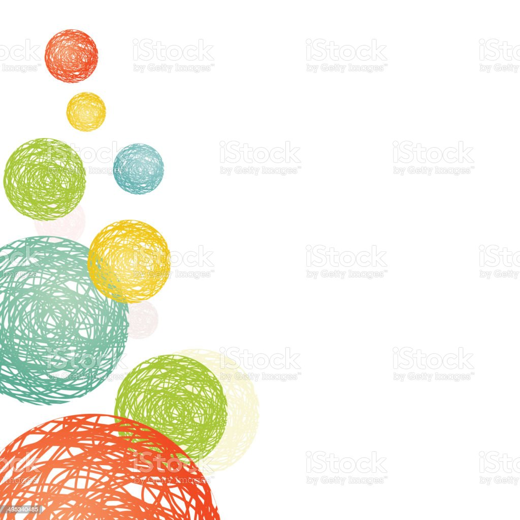 abstract circles consisting of multicolored spirals vector art illustration
