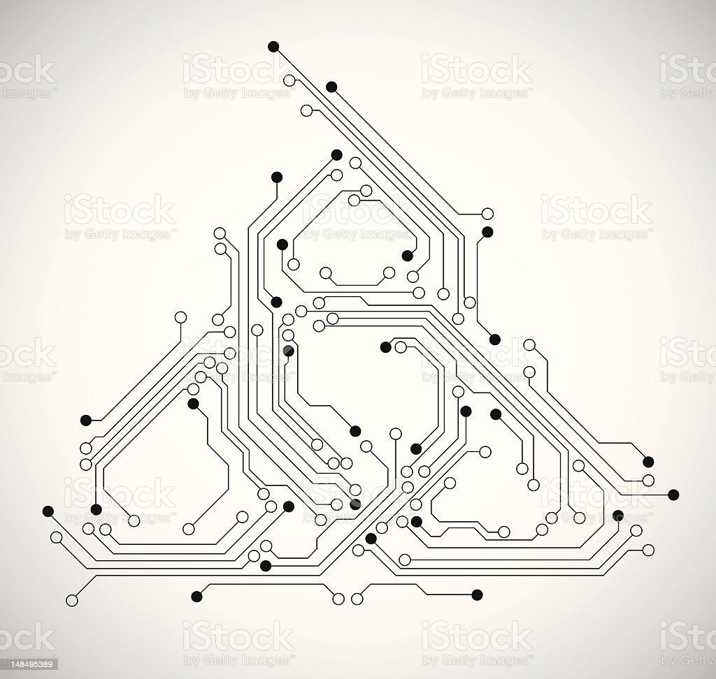 Abstract circuit board background vector art illustration