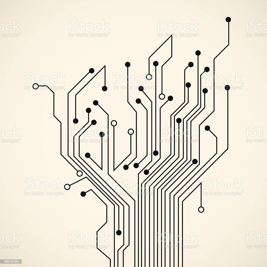 Abstract circuit tree vector art illustration