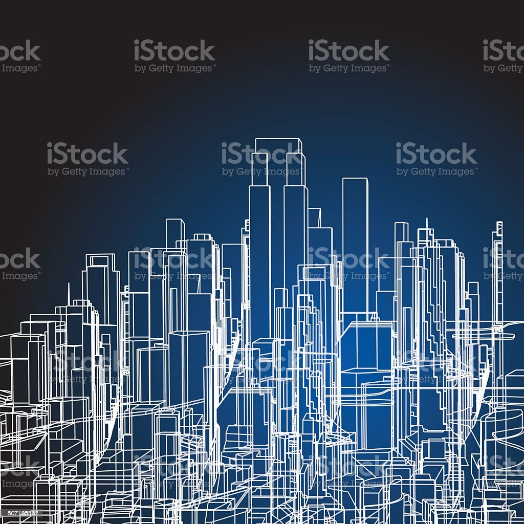 abstract city building structure background vector art illustration