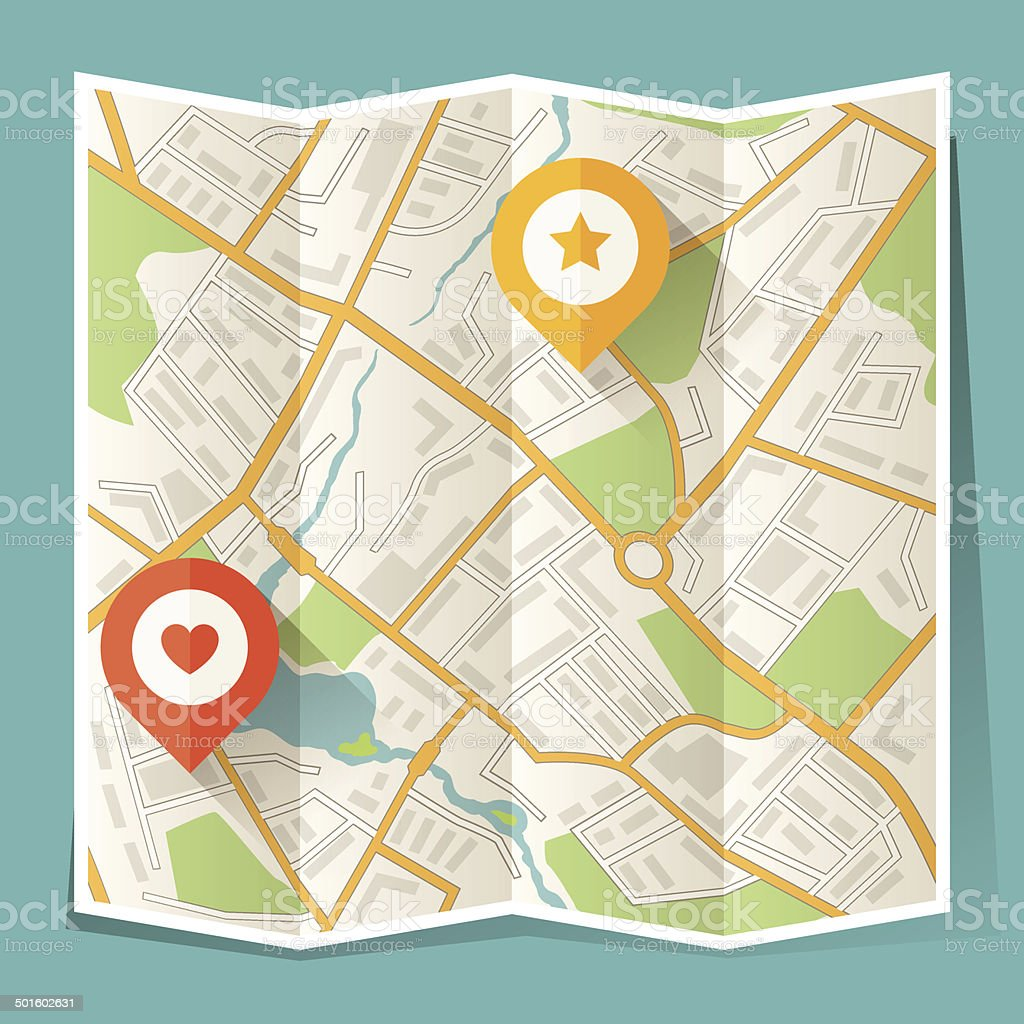 Abstract city folded map with location markers. vector art illustration