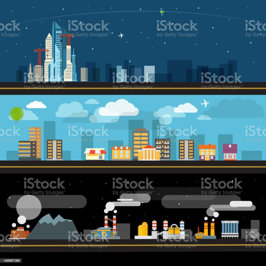Abstract city map illustration set. Ftat design vector art illustration