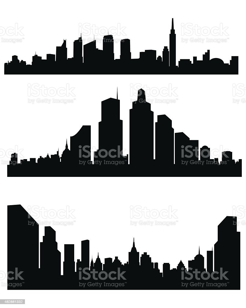 Abstract city silhouette vector art illustration