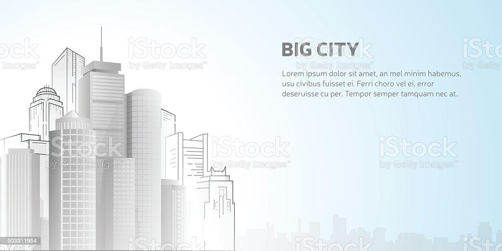 Abstract city skyline vector art illustration