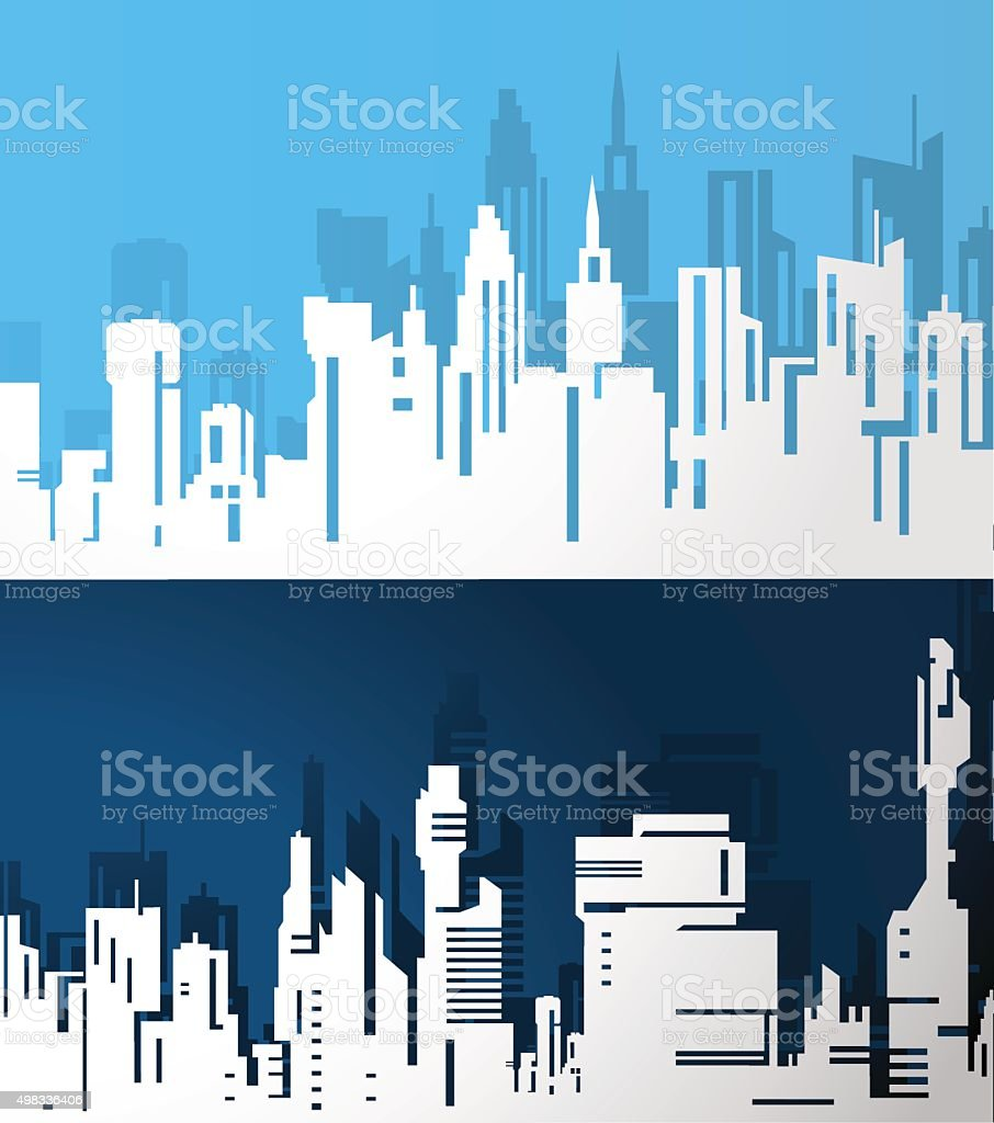 Abstract City Skylines. vector art illustration