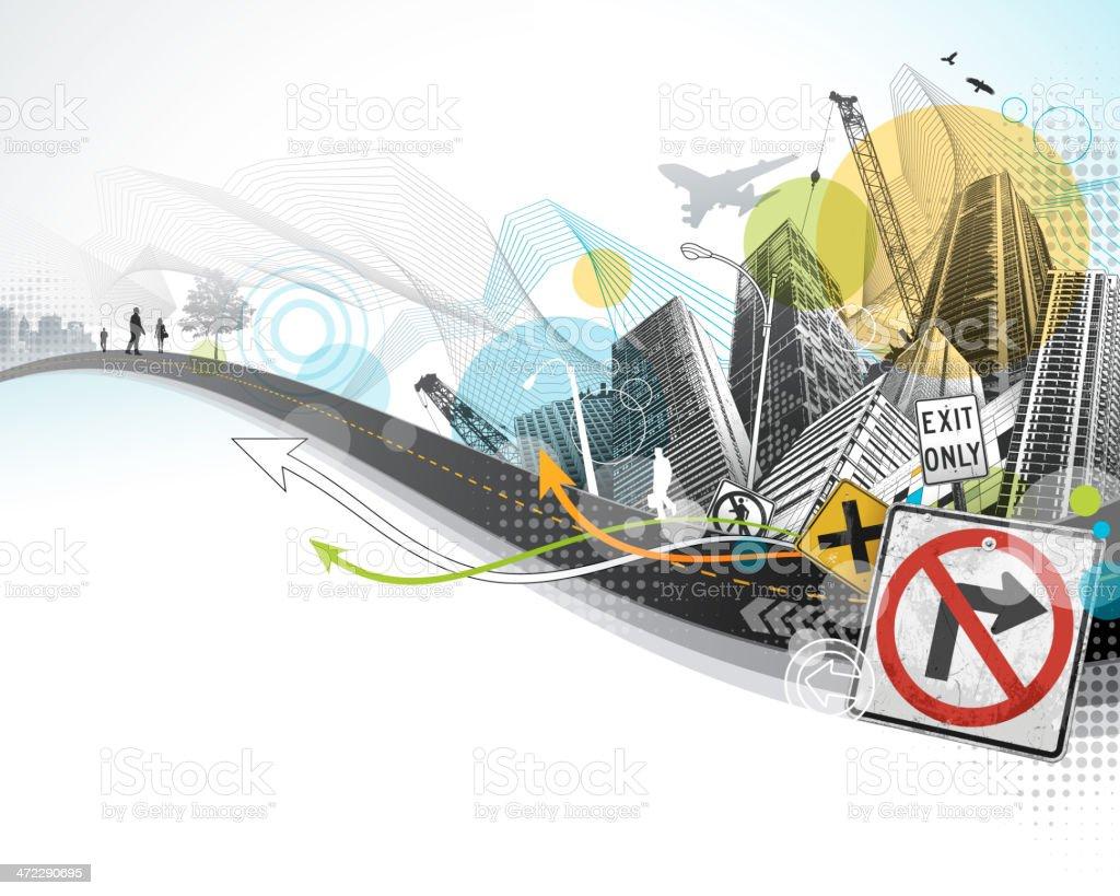 Abstract City vector art illustration
