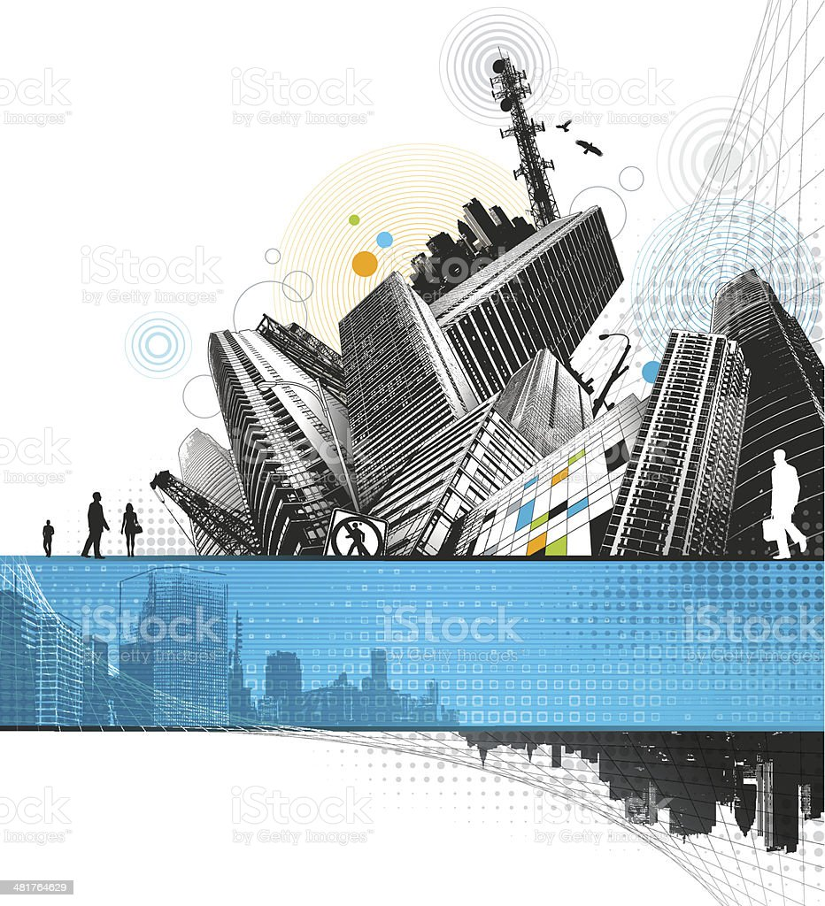 Abstract City vector art illustration