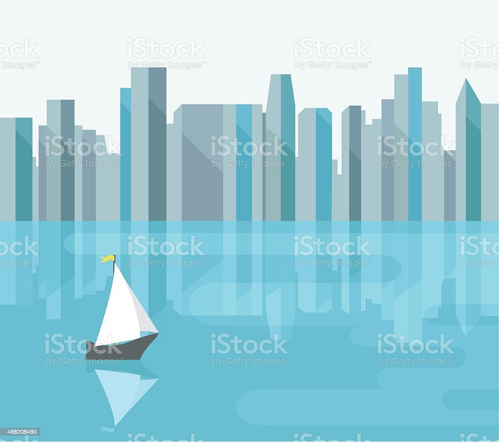 Abstract City With Reflection On Bay vector art illustration