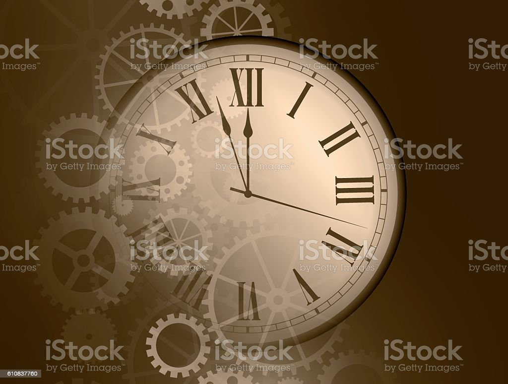 Abstract clock background vector art illustration