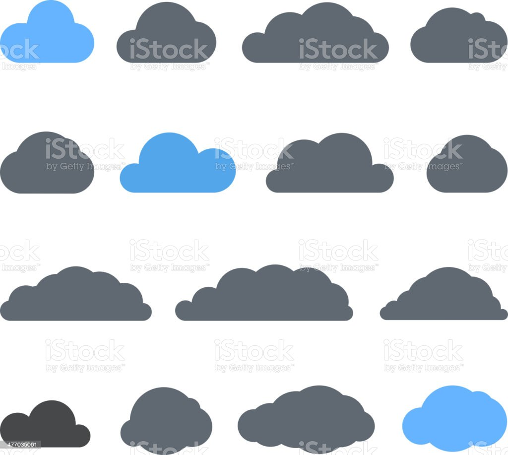 Abstract clouds collection isolated on white vector art illustration