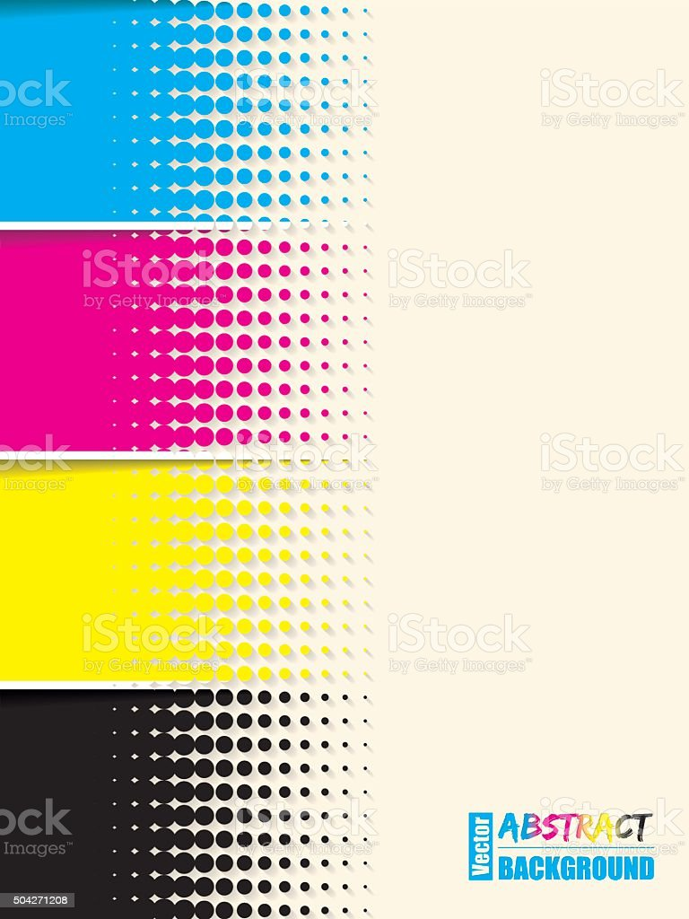 Abstract cmyk halftone background template vector art illustration