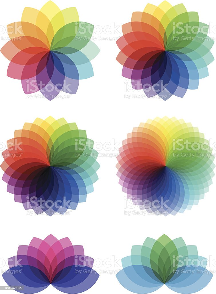 abstract color flowers, vector set vector art illustration