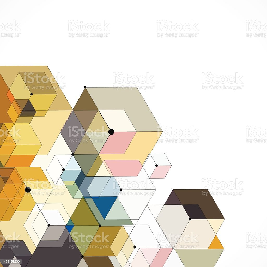 abstract color hexagon geometry pattern background vector art illustration