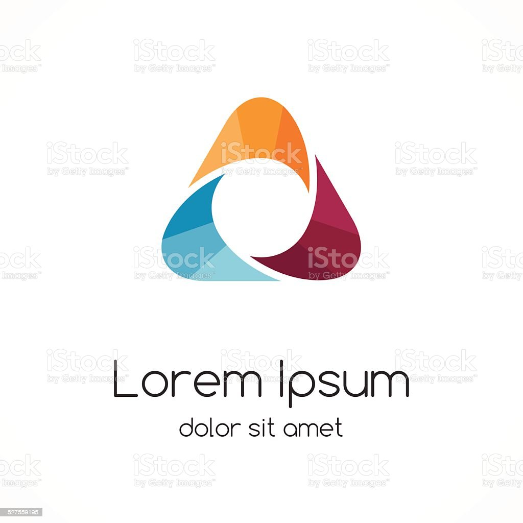 Abstract color logo template. Triangle sign. vector art illustration