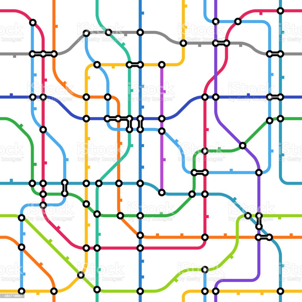 Abstract color metro scheme seamless background vector art illustration
