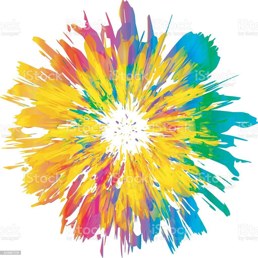 Abstract color splash and isolated flower illustration. vector art illustration