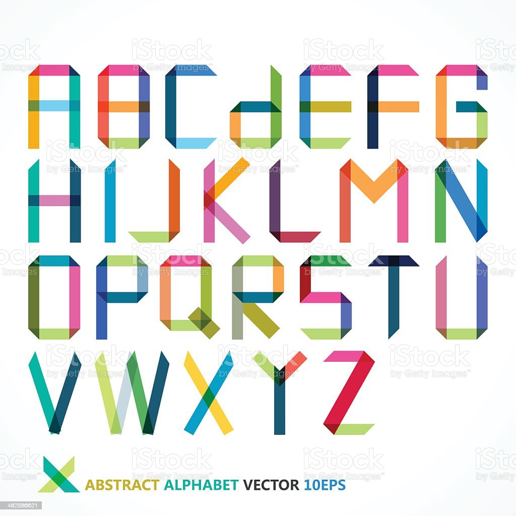 abstract colorful alphabet vector art illustration