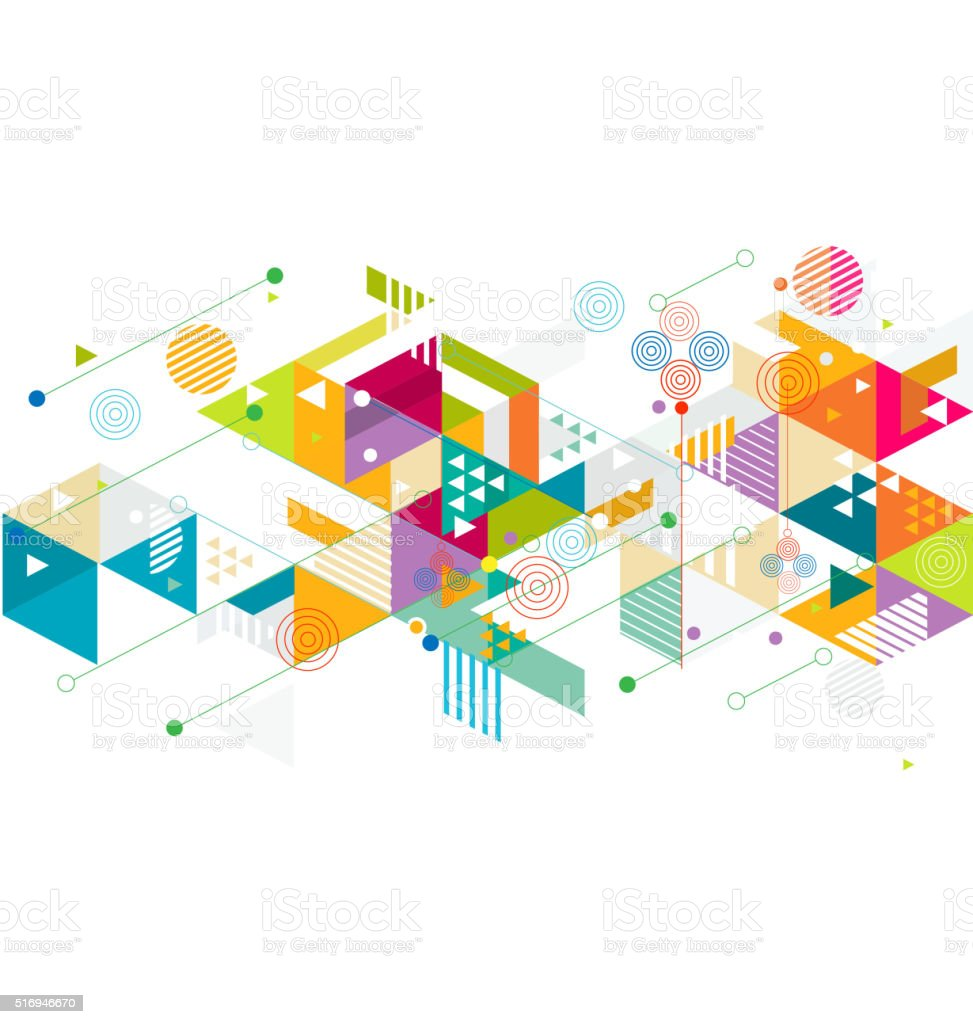 Abstract colorful and creative mix geometric background vector art illustration