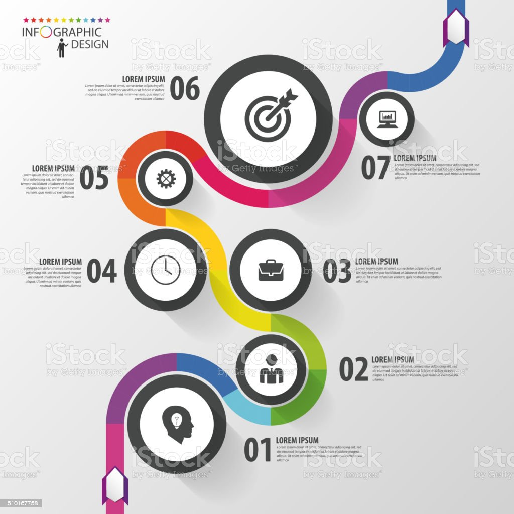 Abstract colorful business path. Timeline infographic template. Vector vector art illustration