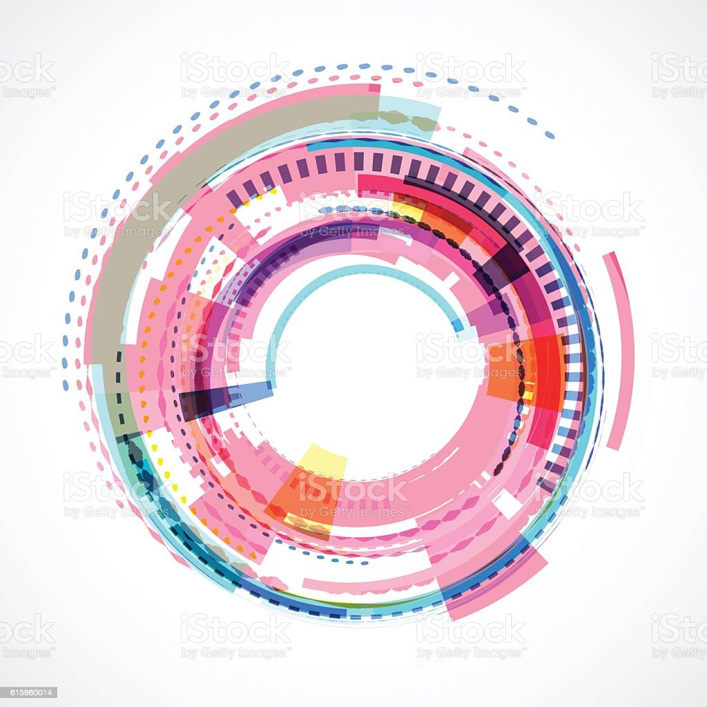 abstract colorful circle technology background vector art illustration