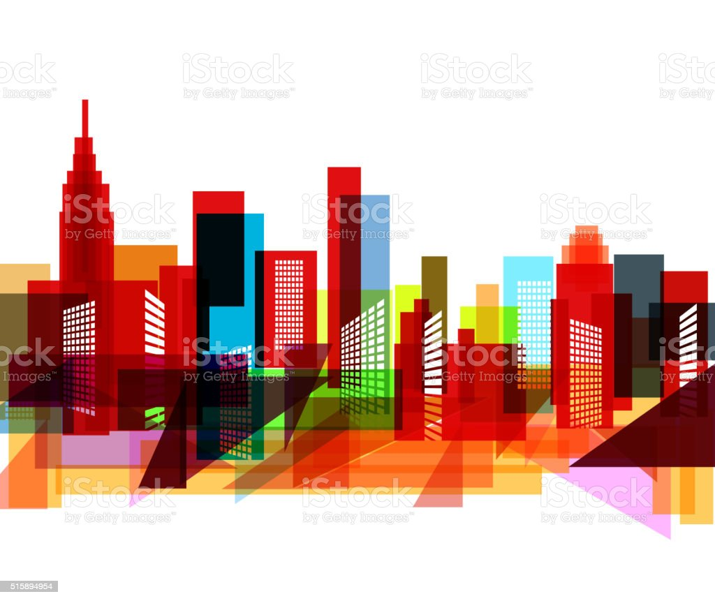 abstract colorful city pattern vector art illustration