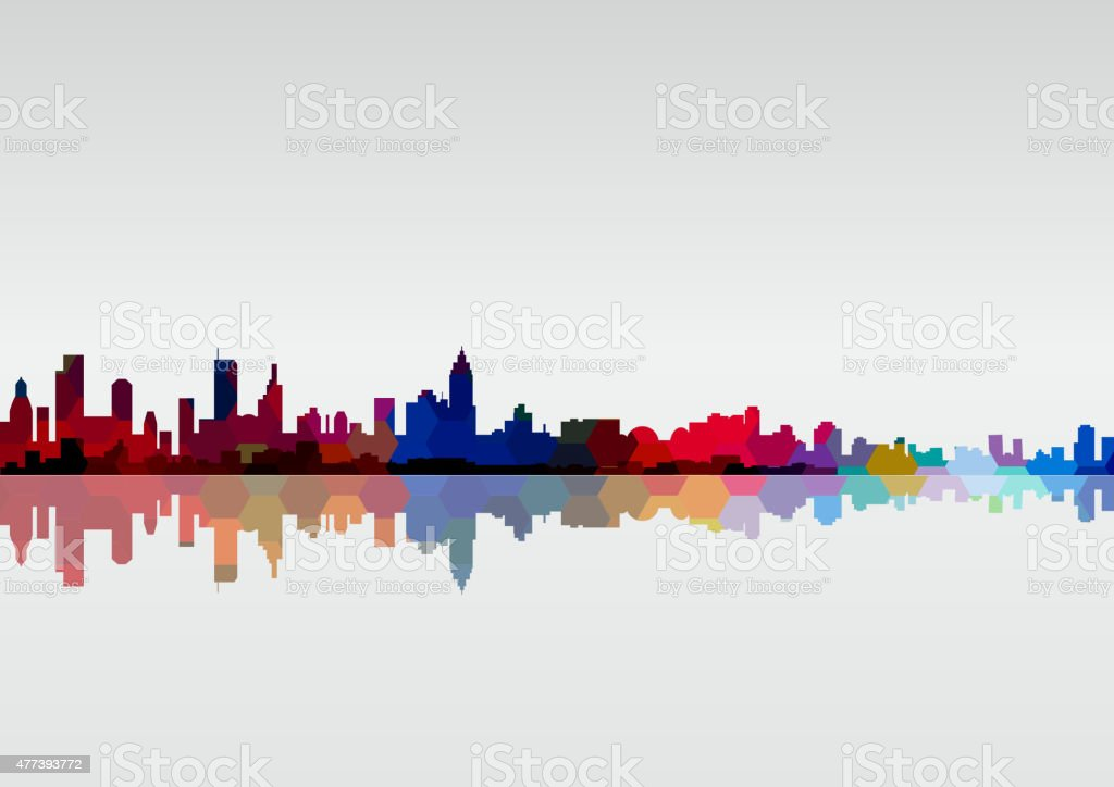 abstract colorful city skyline pattern background vector art illustration